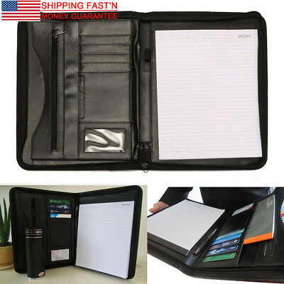 Leather A4 Zipped Portfolio Business Conference Folder Organiser Case Bag Us