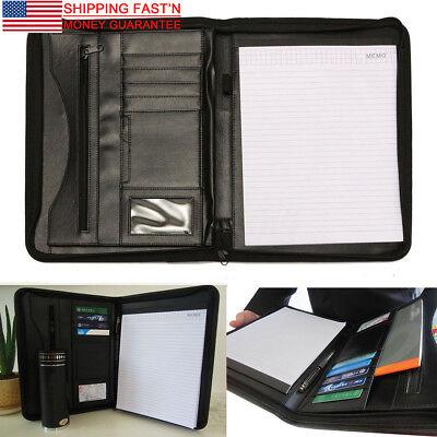 Leather A4 Zipped Portfolio Business Conference Folder Organiser Case Bag US