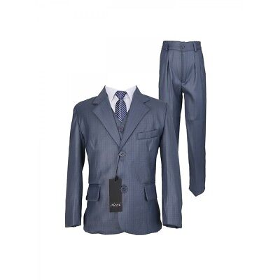 Kids 5 Piece Grey Suit Wedding Communion Suits For Boys With A Stripped - Communion Ties For Boys