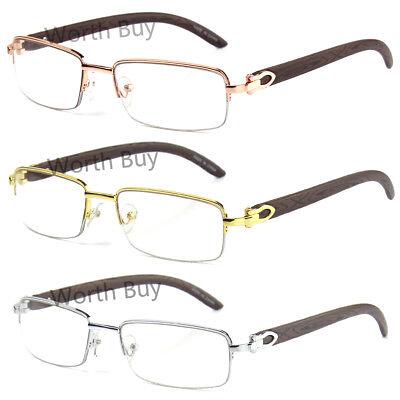 New Mens Women Retro Vintage Clear Lens Eye Glasses Half Frame Wood Fashion (Vintage Glass Frames)