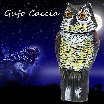 Rotating Head Owl Scarecrow Decoy Garden Protection Repellent Bird Rodent Scarer