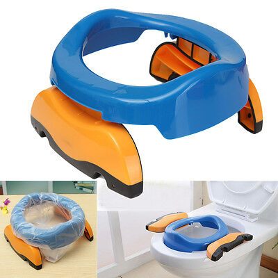 2-Color Foldable Portable Travel Potty Chair Toilet Seat For Baby Kids w/10 Bags