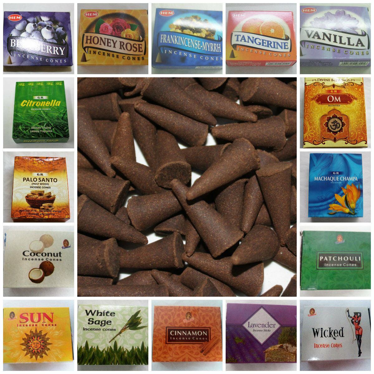 Kamini or Hem Incense Cones 10 50 100 BUY 7 & GET 5 FREE (12 in Cart) Pick Scent