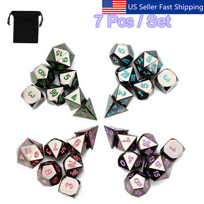 Bulk Dice (7Pcs Set Alloy Metal Polyhedral Dice w/ Bag DND RPG MTG Role Playing Board)