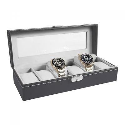Watch Box 6 Mens Gray & Black Leather Display Glass Top Jewelry Case Organizer