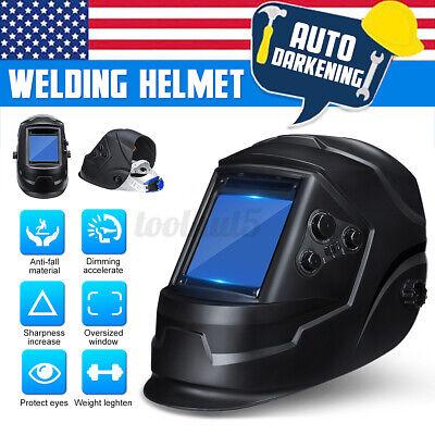 Solar Auto-darkening Helmet Welder Welding Lens Big View Area 4 Sensor Ar