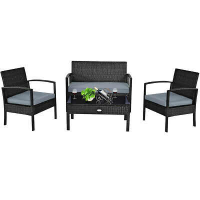 4PCS Outdoor Patio Rattan Furniture Set Cushioned Sofa Coffe