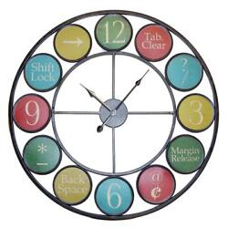 Large Keyboard Symbol Wall Clock Metal Multicolored Vintage Inspired