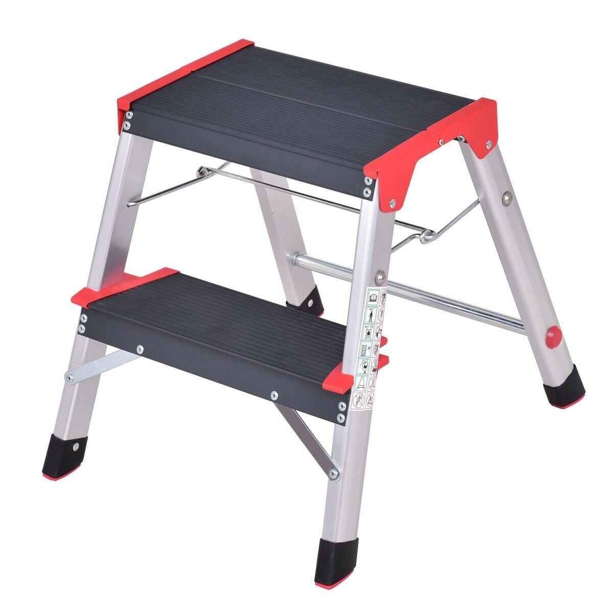 Step Stool Ladder Heavy Duty 2-Step Aluminum Scaffolding Non