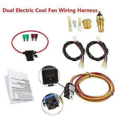 Car Truck DC12V Dual Electric Cool Fan Wiring Harness + Waterproof 40A Relay Kit