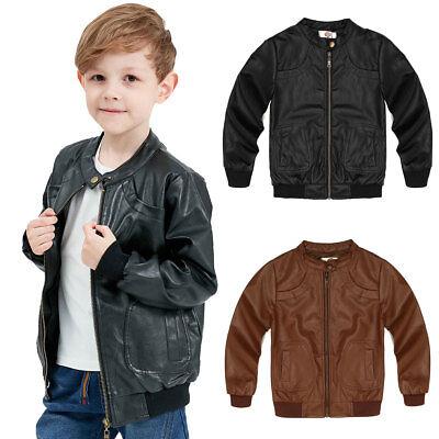 Kids Soft Leather Jacket Boys Girls Trendy Coat Toddler Fashion Motor Jacket - Boy Leather Jacket