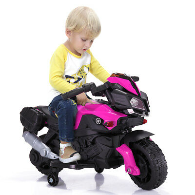 Kids Ride On Toy Electric Motorized Battery Powered Motorcycle Bike Car Pink