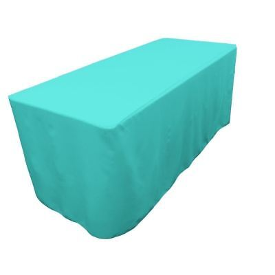 8 Ft. Fitted Polyester Table Cover Trade Show Event Tablecloth Tiffany Blue