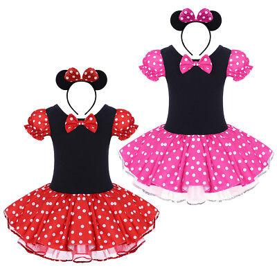 Kinder Mädchen Minnie Mouse Kostüm Tutu Prinzessin Kleid + Stirnband Partykleid