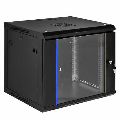 "9U Wallmount Data Cabinet Enclosure 19"" Server Network Rack w Locking Glass Door, used for sale  USA"