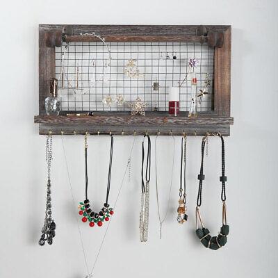 Wall Mounted Rustic Wood Jewelry Organizer Holder with Hooks Shelf