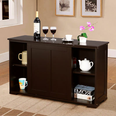 Kitchen Storage Lowboy Sideboard Shelf Buffet Cupboard Wood Sliding Door Pantry