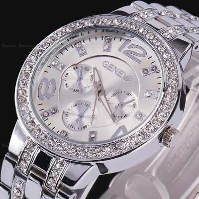 Silver Women Geneva Bling Stainless Steel Quartz Rhinestone Crystal Wrist Watch  Quartz Bling Watch