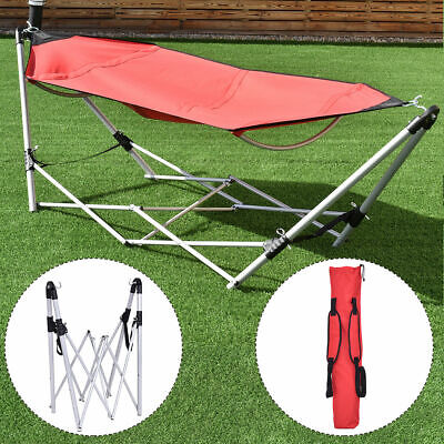 Portable Folding Hammock Lounge Camping Bed Steel Frame Stand W/Carry Bag Red for sale  USA