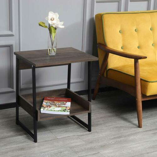 2-Tier End Table, Living Room Night Stand Wood Side Table with Storage