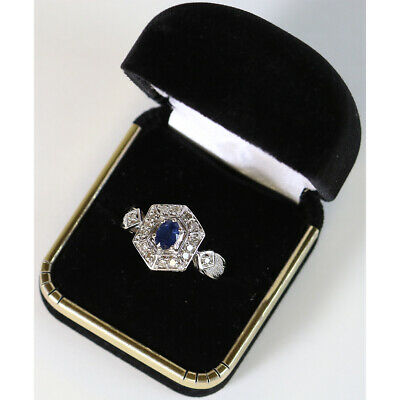 Ladies Oval Blue Sapphire & 16 Diamond Ring 1/2 CTTW, 14K White Gold Size 8