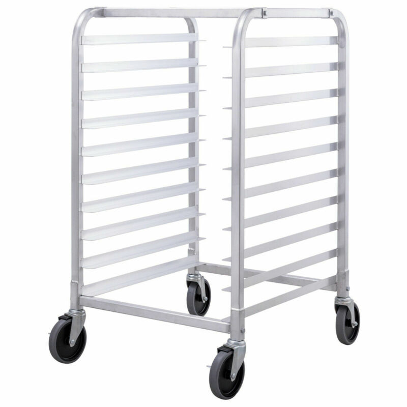 10 Sheet Aluminum Bakery Rack Rolling Commercial Cookie Bun Pan Kitchen New