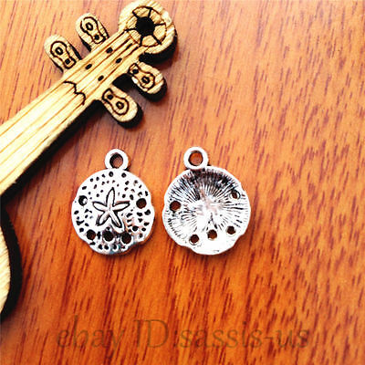 8 pieces New SAND DOLLAR Charm Tibetan Silver Alloy 16 x 16 mm Free Shipping