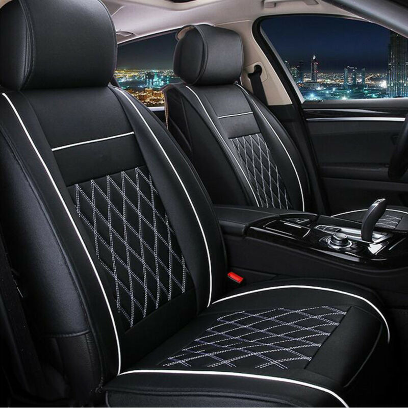 7Pcs Universal 5 Seat Cover Leather Car Front + Rear Cushion Pad + Armrest Case