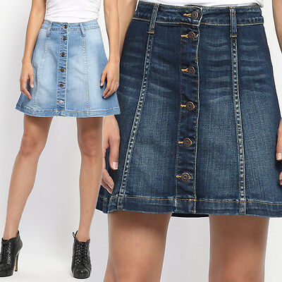TheMogan Women's Button Up Washed Denim A-line Skirt High Waist ...