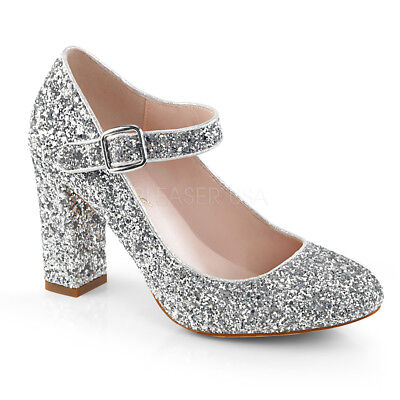 Silver Glitter 60s 70s Vintage Hippie Disco  1920s Flapper Costume Shoes Heels