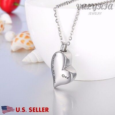 VALYRIA Dad Forever in My Heart Cremation Jewelry Keepsake Memorial Urn Necklace