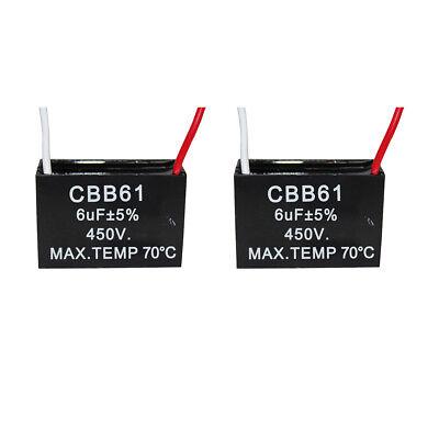 2PCS 450v 6uf CBB61 Ceiling Fan Motor Running Capacitor 2 Wire 50/60 Hz