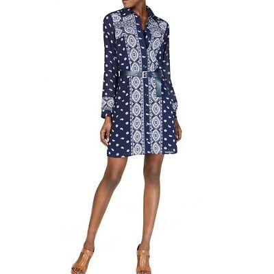 MICHAEL KORS Women's Scarf-inspired Print Belted Shirt Dress -