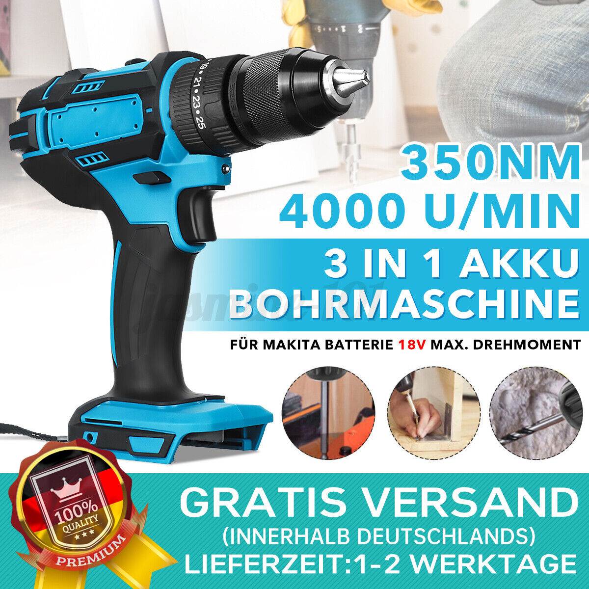 3 in1 350Nm Akkuschrauber Bohrschrauber Bohrmaschine Akkubohrer für Makita 18V