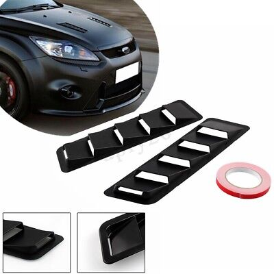 - 2x Universal Car Hood Vent Louver Scoop Cover Air Flow Intake Cooling Panel Trim