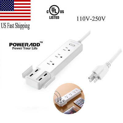 4 USB Port 3 Outlet Socket Power Strip With Surge Protector Lightningproof