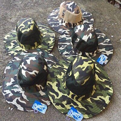 Australian Outback Hats (5 LOT Assorted Australian Outback Safari Bucket Flap W/Mesh Boonie Hat HT-35)