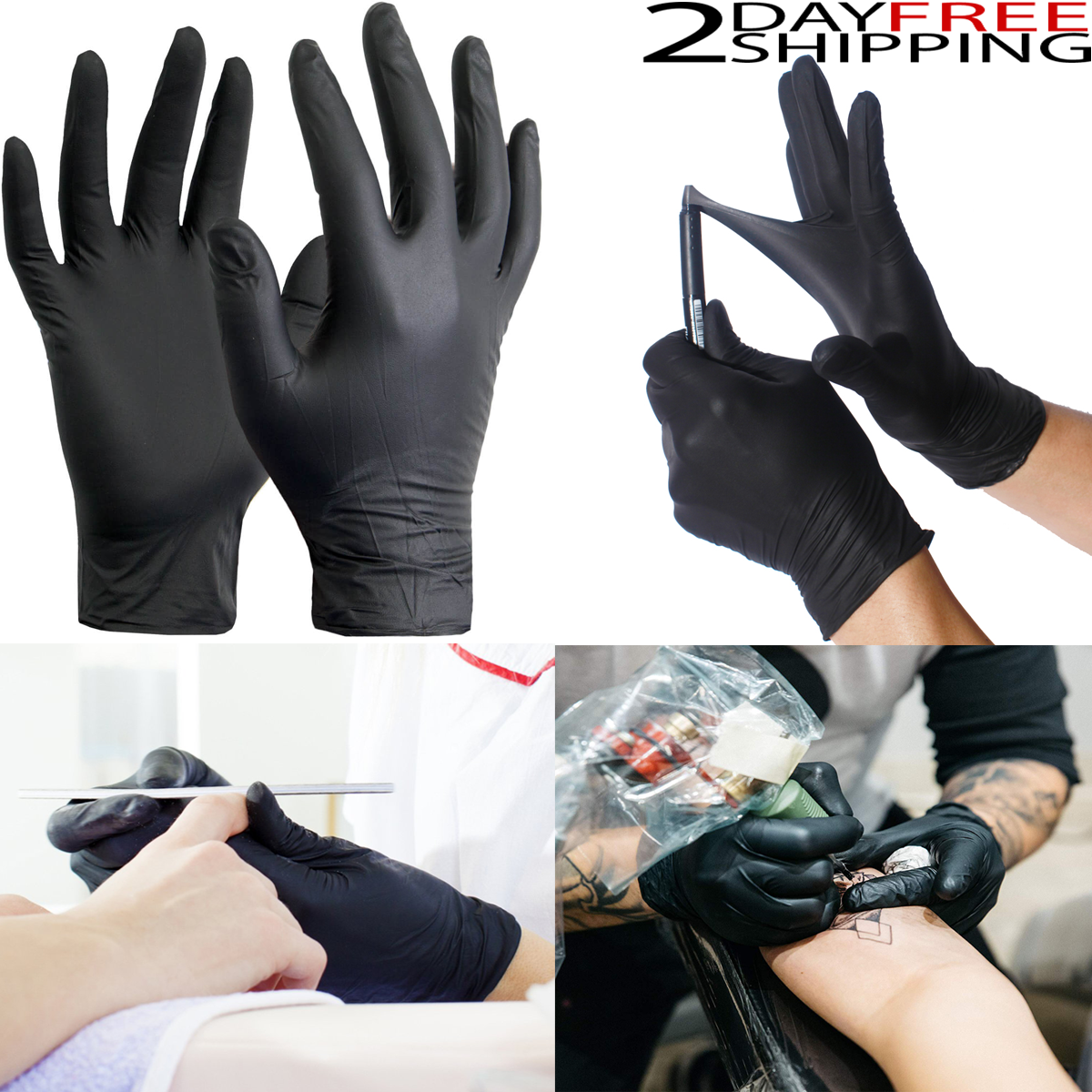 100 Disposable Nitrile Gloves Black XS S M L XL Slip Resista