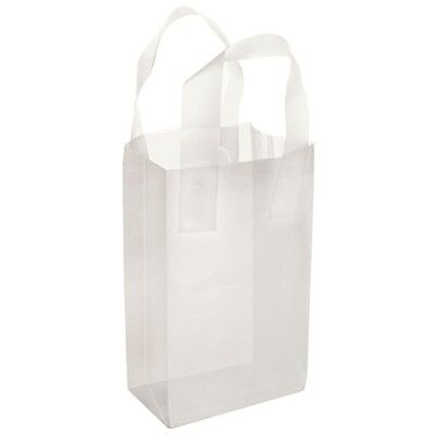 Clear Frosted Plastic Handle Bags Gift Party Merchandise Retail 5x3x6 Lot 50