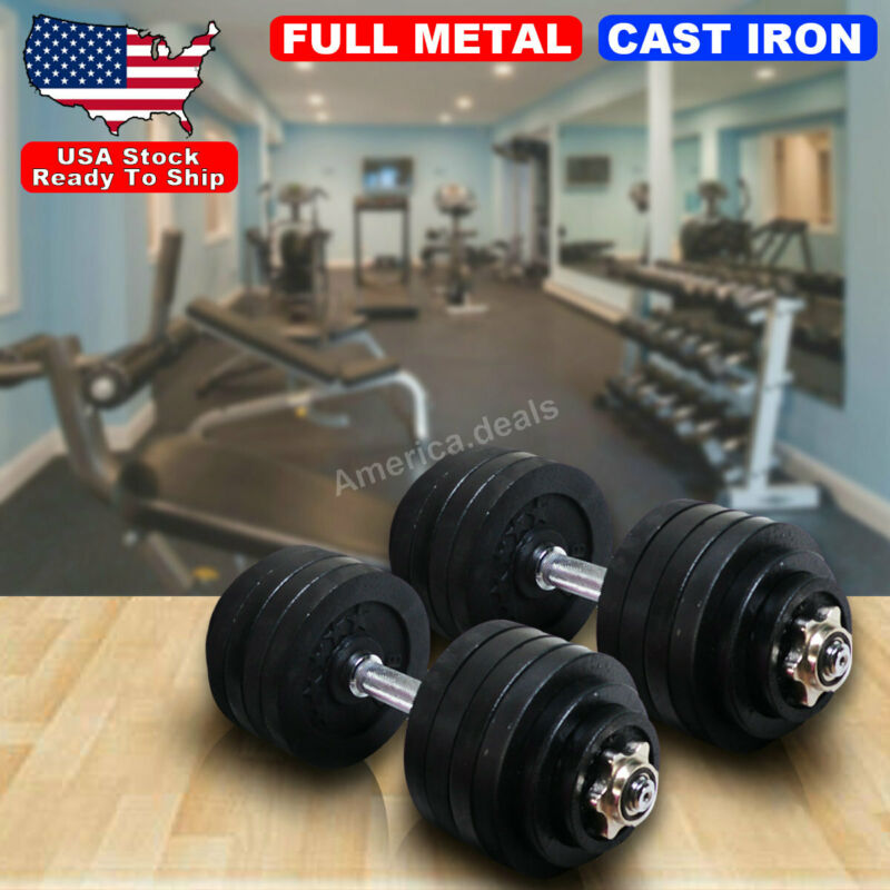 Adjustable 110lb Weight Dumbbell Set Home Body Fitness Workout ALL Metal Plates