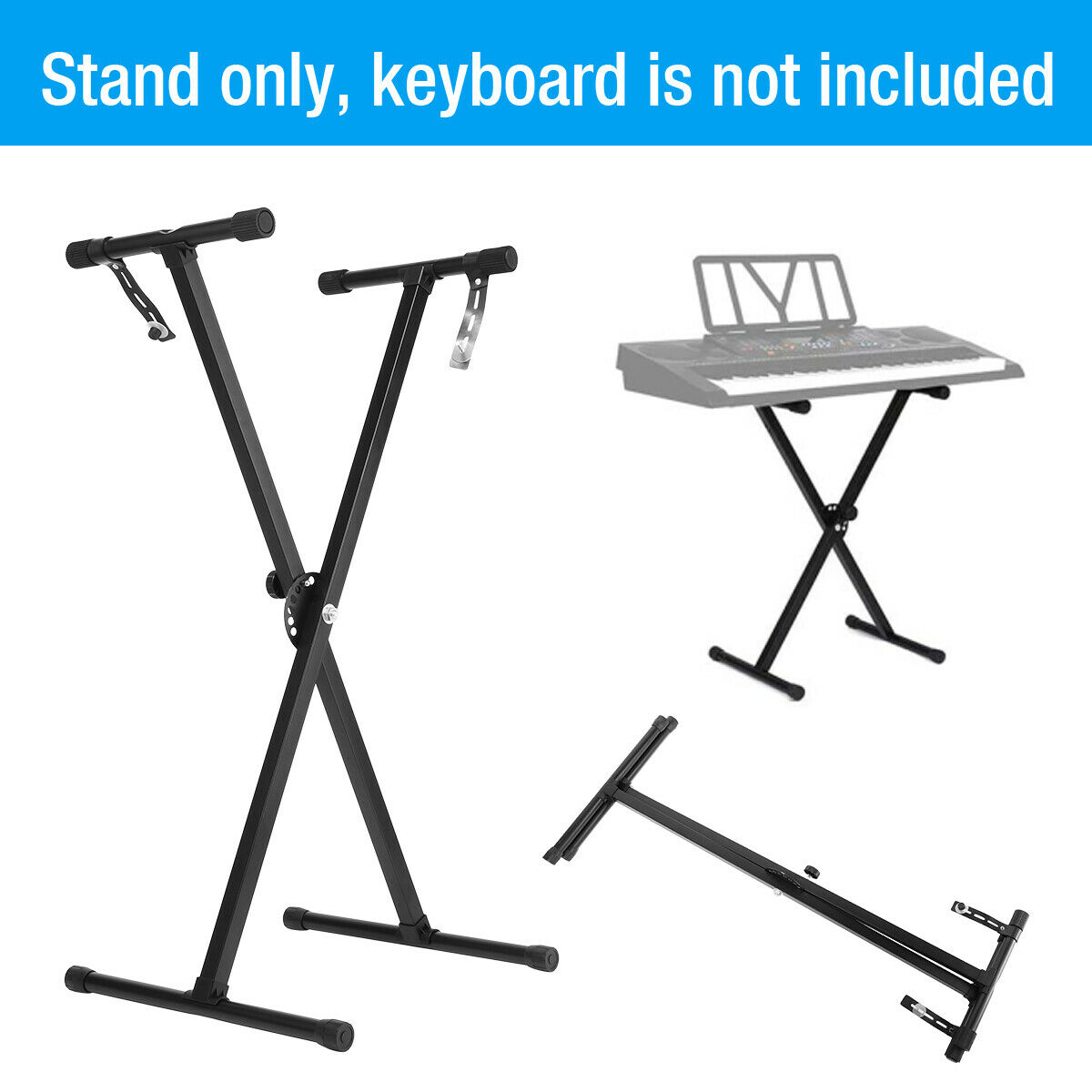 Black Adjustable Height Keyboard Piano X Stand Electric Orga