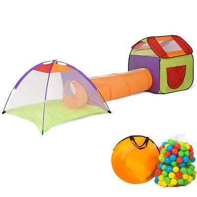 3 In 1 Folding Pop Up Kids Play Tent Playhouse Tunnel w 200 Ocean Balls Bag