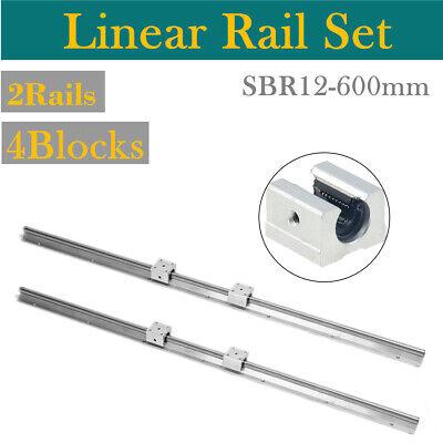 2pcs Sbr12 600mm Support Linear Rail Shaft Rod 4pcs Sbr12uu Block Cnc Diy