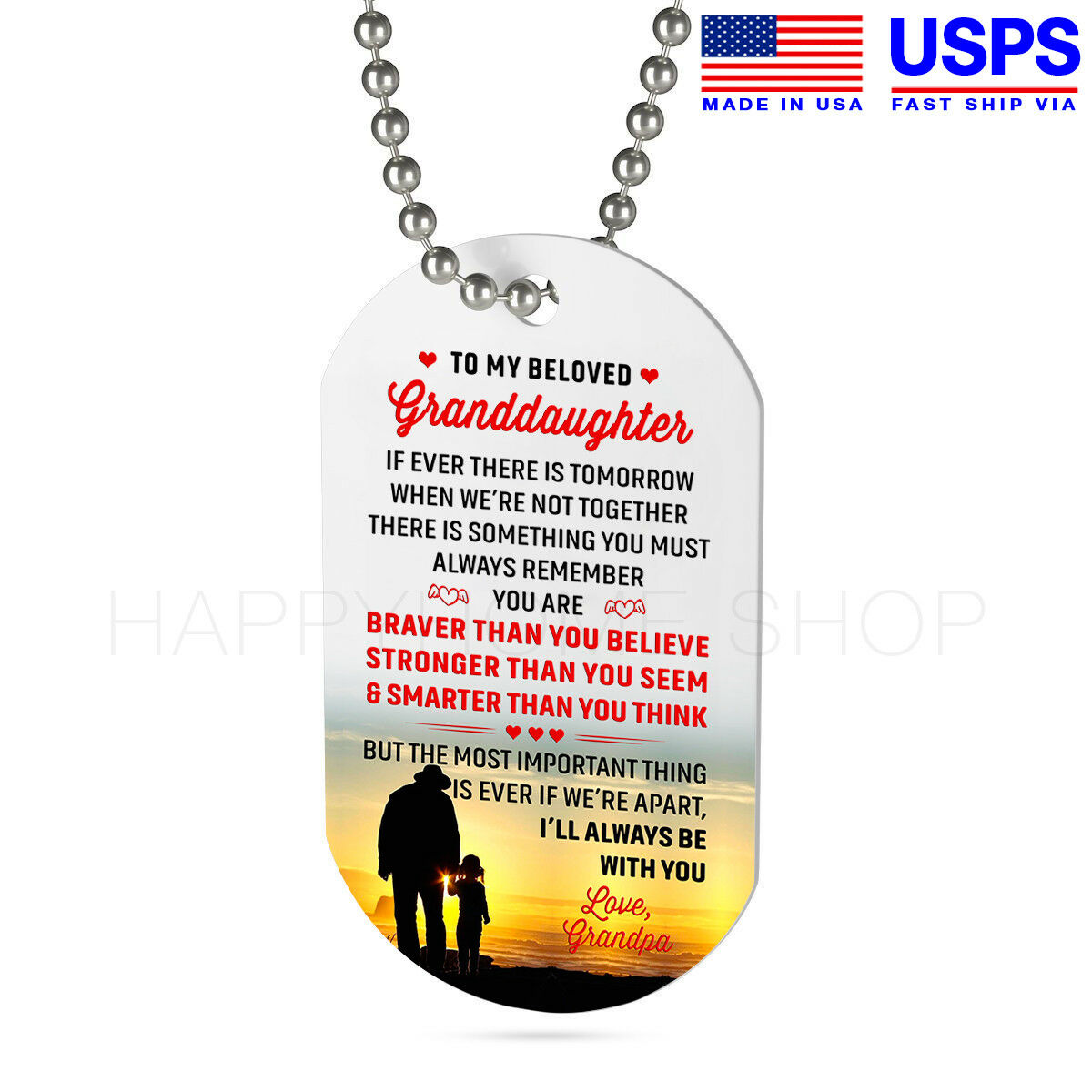 Military Dog Tag Gift For Granddaughter Birthday