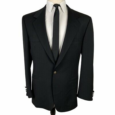 V2 Versace Sport Coat Blazer 40R Black Wool 2 Gold Buttons Jacket