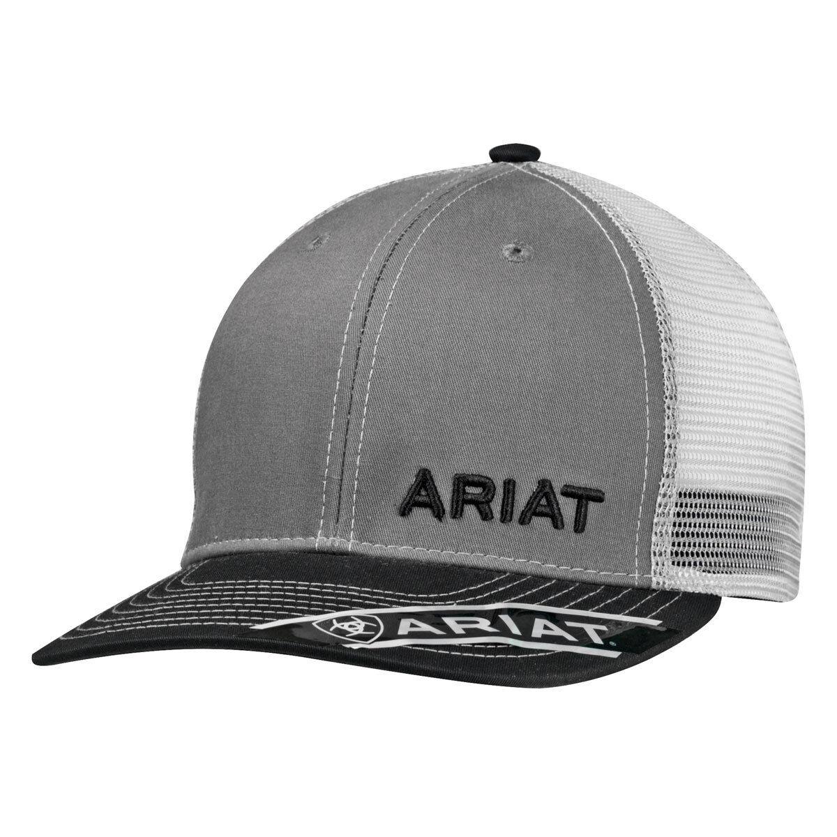 Details about Ariat Mens Hat Baseball Cap Mesh Snapback Grey Black 1501106