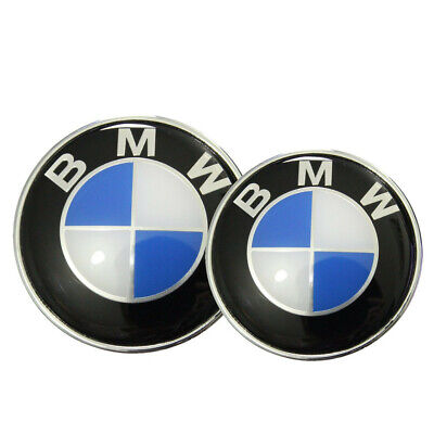 BMW Emblem 82mm + 74mm Haube Logo Vorne Hinten Motorhaube Kofferraum 1 3 5 7er X online kaufen