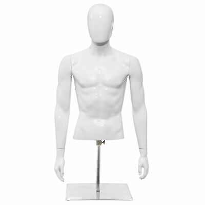 Half Body Mannequin Form Male Head Turn Display White