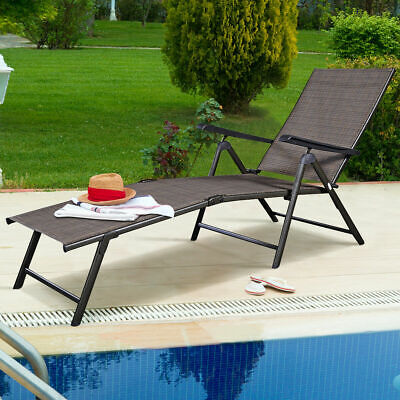 - Adjustable Pool Chaise Lounge Chair Recliner Textilene Outdoor Patio Furniture