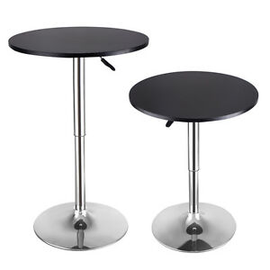 set of 2 modern round bar table adjustable bistro pub counter wood top swivel